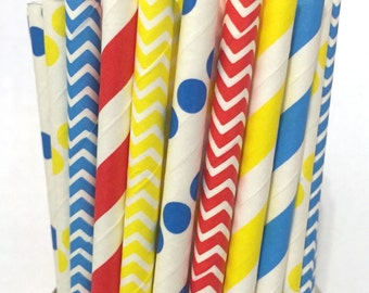 2.85 US Shipping -Circus  inspired paper straws- Carnival straws - cake pop sticks- drinking straws