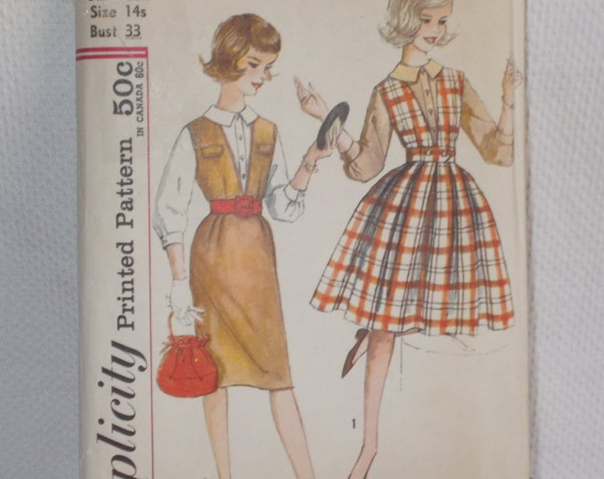 Vintage 60s Simplicity #3655 Sub-Teen Uncut Unused Pattern Rockabilly Preppy School Girl Jumper & Blouse Outfit 14s
