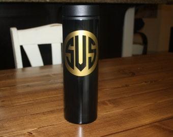 Personalized Stainless Steel Travel Tumbler in Black 16oz., Coffee Mug, Coffee Travel Tumbler, Office Coffee Mug