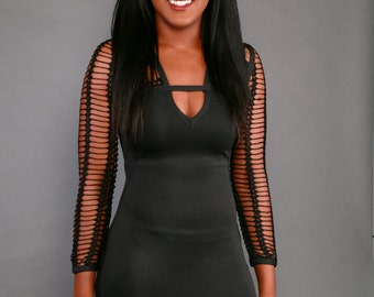 Knitted Black Bandage dress