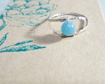 Handmade ring, blue ring, jade rings, wire ring, custom ring