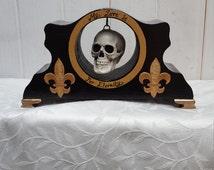 Unique gothic vintage clock case with hanging skull