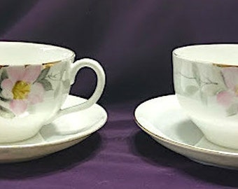 Vintage 2 Cup and Saucer Sets of Noritake Nippon Azalea