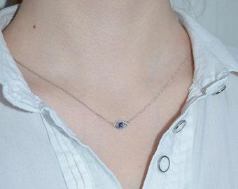 Sapphire Necklace // Sapphire Pendant - Stone Drop Necklace Silver - Gem Necklace - Sapphire Jewelry - Minimalist Necklace
