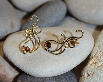 3mm Garnet STUD EARRINGS Gold // Earring Studs - Ear Lobe Jewelry - 20 Gauge Cartilage Earring Stud - Helix Piercing - Conch Piercing