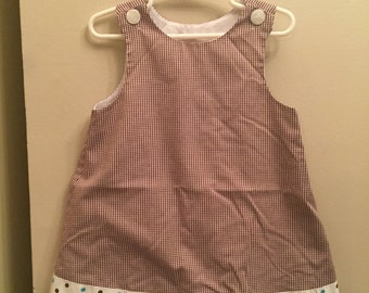 3T, Classic Baby Clothes, Chocolate brown gingham jumper with polkadot ribbon trim