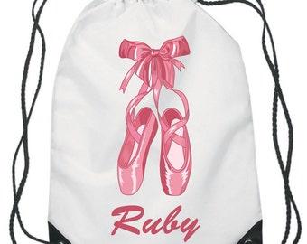 Ballet Shoes Drawstring Swimming, School, PE Bag For Girls Personalised