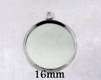 15 x Stainless Steel Cabochon 16mm Round Bezel Frame Pendant Settings