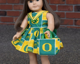 5-piece University of Oregon Ducks handmade doll dress ensemble - fits 18 inch and American Girl dolls - by Debbie