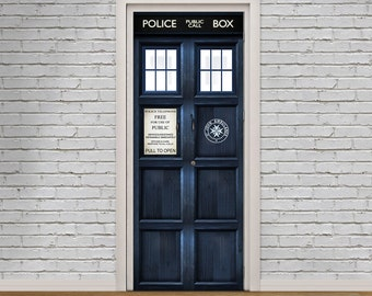 Tardis - London Police Box Self-Adhesive Door Decal Vinyl Sticker - HD Removable Wallpaper Door Mural