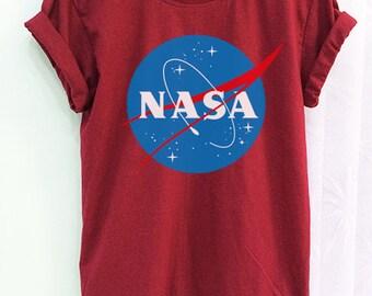 Nasa Shirt Clothing Logo Crimson Red Green Women Tshirt Tee Short Sleeve T-Shirt SMLXLXXL
