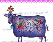 Folk Art Cow with Whimsy DIGITAL STAMP Download - Carmen Medlin for SCACD