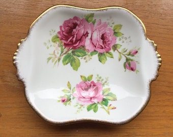 "Royal Albert ""American Beauty"" Pink Rose Candy Dish, Flower Trinket Tray, Floral 2 Handle Dish, Crown English Bone China"