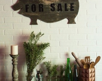 Pig Sign,Pig For Sale, ShabbyChic decor, Distressed decor, Rustic Decor, country decor, gift for home, house warming gift