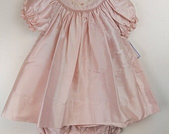 Fancy Threads Girls Pink Silk Dress And Bloomer Set. Size: 12M