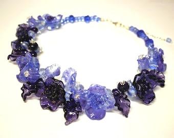 Handmade lampwork flower necklace, blue flower necklace, glass necklace, glass floral necklace