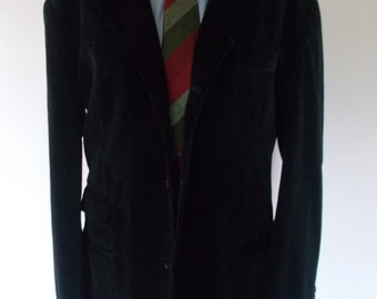"Vintage Italian black velvet jacket blazer with fine pinstripe by Koxl made in Italy 42"" chest Large"