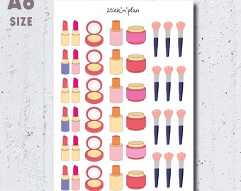 Makeup Stickers, Girly Stickers, Brushes Reminder, Beauty Stickers, Lipstick Stickers, Powder Stickers, Cosmetics Stickers, Life Planners