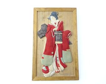 1800's Antique Oshi-e art board, Ukiyoe