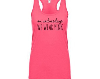 On Wednesdays We Wear Pink Tank Top, Gym Shirt, Workout Clothes for Women Workout Tank Top Running Tank Weight Lifting Tank