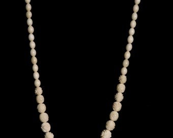 White Galalith plastic necklace from France-- 1930's
