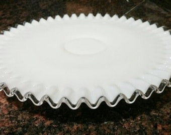 Fenton Silver Crest Footed Cake Stand, Vintage Cake Stand, Wedding Gift, Cake Plate