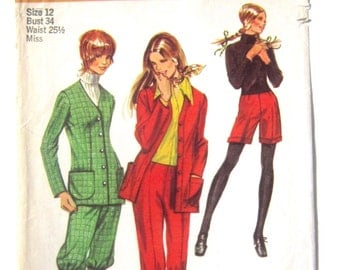 Dress Pants, Shorts, Cropped Knickers, Riding Pants, Collarless Jacket Simplicity Pattern 9557 Miss Sz 12 Hip Huggers, Horseback Riding 1971