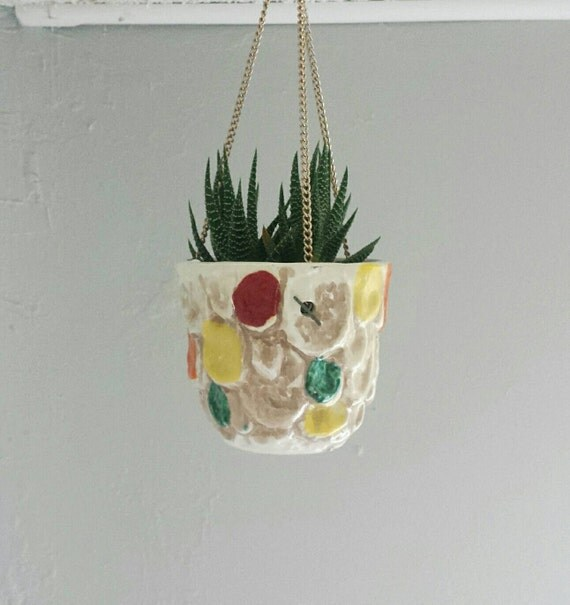 As is ceramic hanging planter colorful pottery hanging for Colorful hanging planters