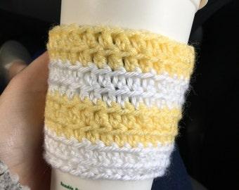 Yellow & White Stripe Knit Travel Cup Mug Cozies