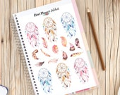Watercolour Dreamcatchers and Feathers Planner Stickers (S-129)