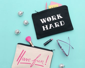 Pencil Pouch - Makeup Brush Holder - Stationery Case - Large Canvas Zipper Pouch - Have Fun/Work Hard Double-sided Pouch - Alphabet Bags