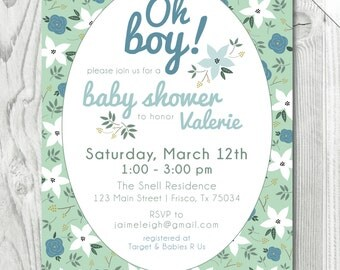 Mint Floral Baby Boy Shower Invitation  |  Digital