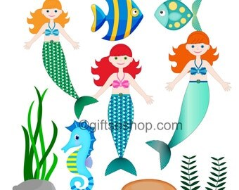 Mermaid Pictures- Mermaid Clipart- Fish Clipart- Under The Sea Clipart- Seahorse Fish Clipart