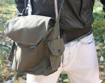 Messenger Bag - Canvas Military Bag - Crossbody Bag - Army Bag - Green Canvas Bag - Shoulder Bag - School Bag - Best Friend Gift