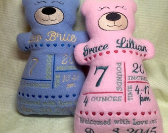 Personalized Baby Announcement Stuffed Animal Birth Record Bear Fleece Softie