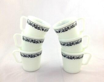 Vintage Pyrex Mugs / Old Town Blue Pyrex Mugs / Set of Six Pyrex Mugs / Milk Glass Mugs / Made in USA