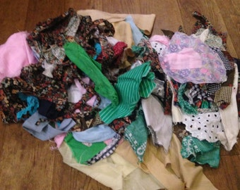 500g of Mixed Vintage Fabric Offcuts from Dress & Doll Making Pieces are mainly small but good for Patchwork, ScrapBook Dolls House etc ...