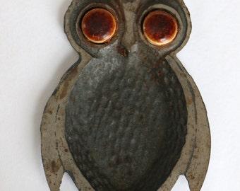 Vintage 70's Metal Owl Trinket Tray
