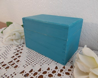 Aqua Turquoise Teal Blue Recipe Wood Index File Box Shabby Chic Beach Cottage Coastal Seaside Tropical Island California Nautical Kitchen