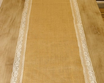 "Burlap and Lace Table Runner 16""x74"""