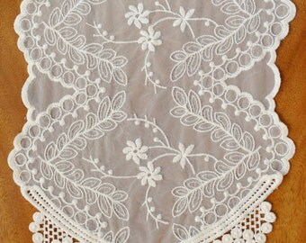 Lace Table Runner, Chair Tie, Soft Embroidered Lace 12 Inch by 74 Inch