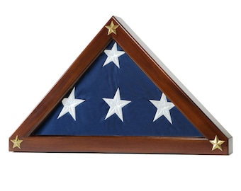 Federal Flag Display Case - For Memorial Flag- Solid Mahogany