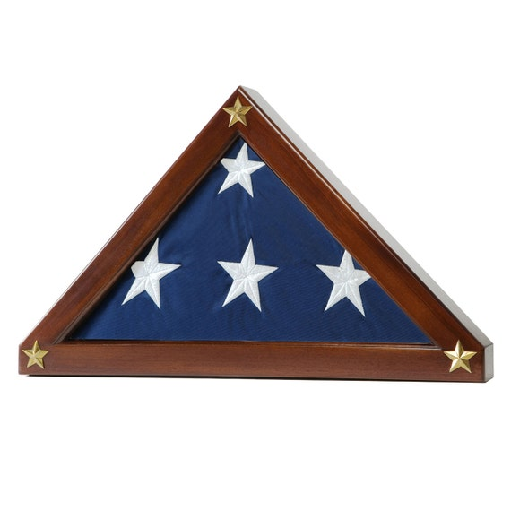 Federal flag display case for memorial flag solid mahogany for Proper us flag display