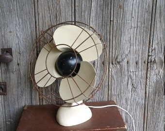 French Vintage Art Deco Metal Working Electric Fan  -  Vintage Cream Metal Fan with Bakelite Plug