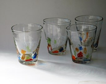 Handblown clear and multicoloured tumblers