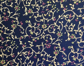 Flowers on Vines on Navy Background, 100% Cotton