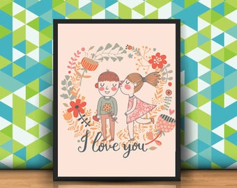 Love printable, love print, love art print, digital print download, digital art, heart digital print, i love you print, girls room decor
