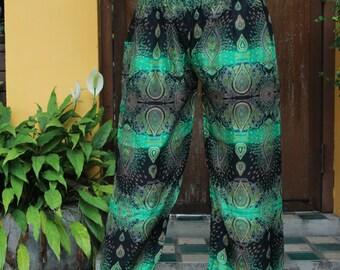 Harem Pants Yoga pants Hippie Pants Bohemian Pants Feather green