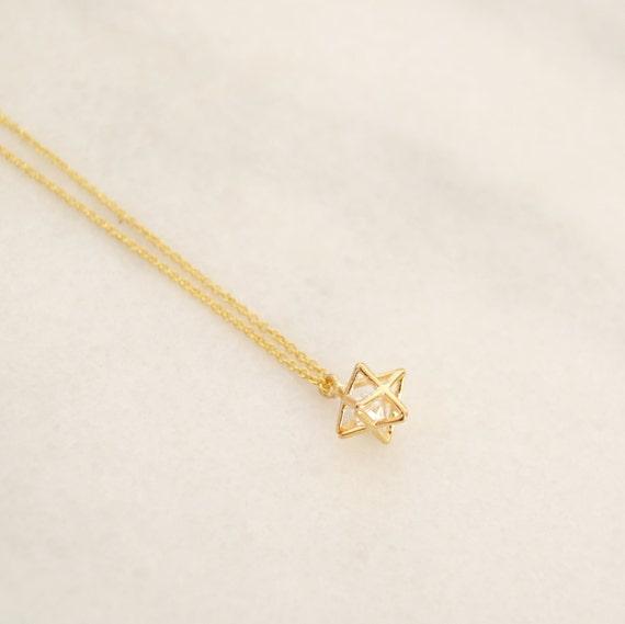 tiny merkaba necklace with zirconia spiritual charm