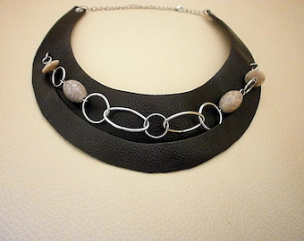 Dark Brown Genuine Leather Bib Necklace